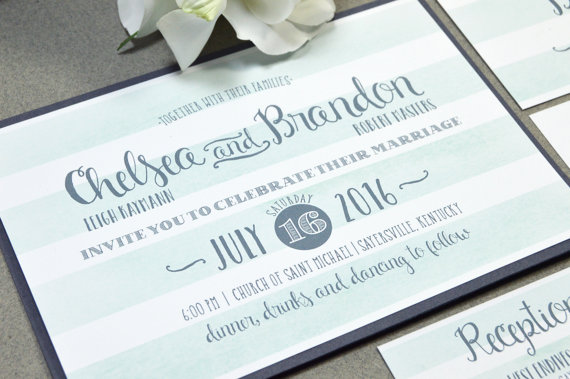 Rustic Wedding Invitation Suite Watercolor Pocket Folder Bellyband Striped Invitations Gray And Mint Invites