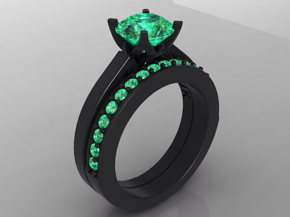 Black Gold Engagement Ring Set Bloomed Love Inspired Round Vvs 1 25ct Emerald 14kt Wedding Band Anniversary