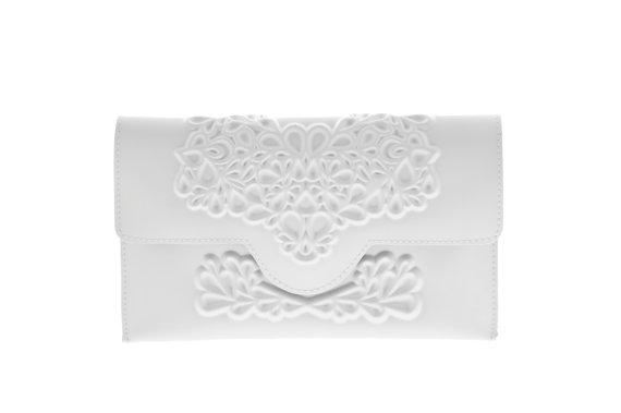Clic White Clutch Bag Bridal Purse Wedding Day Brides Unique Shower Gift Perfect