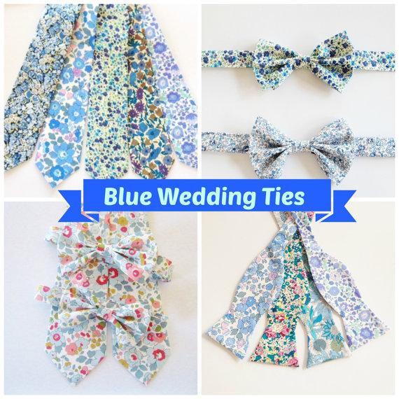 Blue Groomsmen Ties Liberty Of London Tie You Choose Color Custom Wedding Set Gift