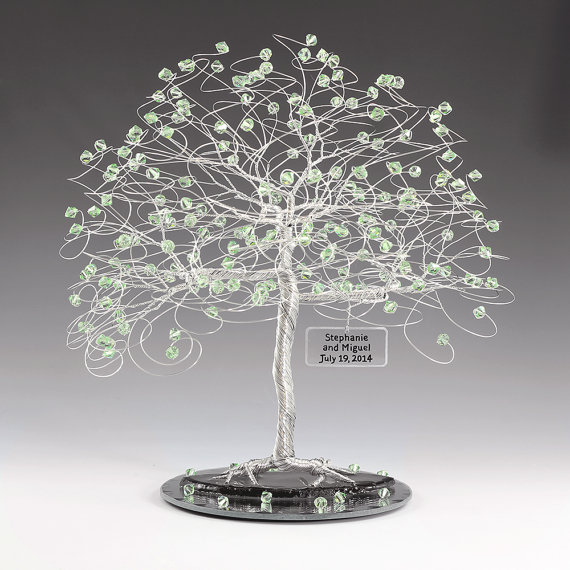 Personalized Wedding Cake Topper Tree Sculpture Size 8x9 Swarovski Crystal Elements Gold Silver Copper Tone Wire