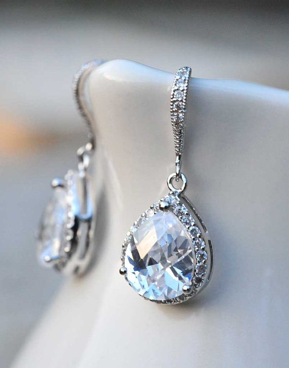 Bridal Jewelry Drop Earrings Vintage Wedding Summer Bride Estate Style Sterling Silver
