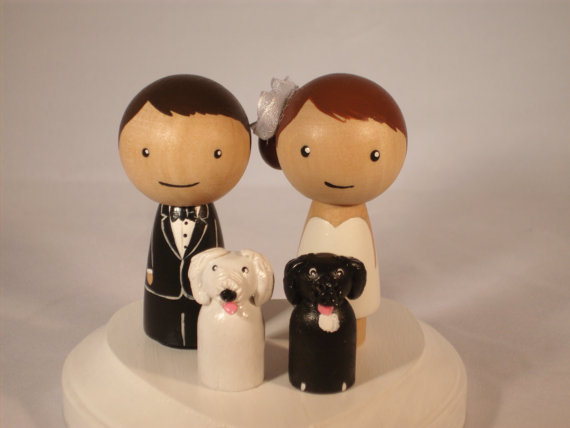 kokeshi doll wedding cake toppers pet topper wedding topper with two pets custom kokeshi 16655