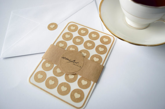 24 Kraft Stickers With Ivory Hearts Handmade Envelope Seals Wedding Invitations Favours Cupcake Toppers Hershey Kiss