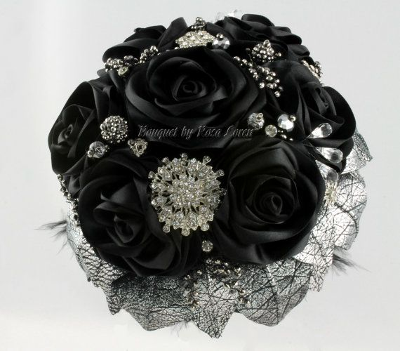 Black Bouquet Silver Bridal Wedding