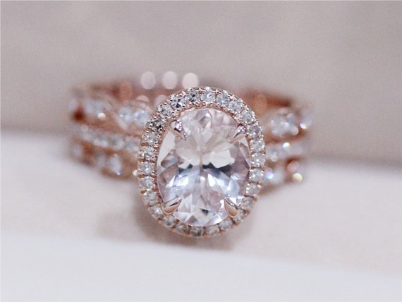 3 Rings Morganite Wedding Set Vs 6x8mm Pink Ring W Matching Band 14k Rose Gold Engagement