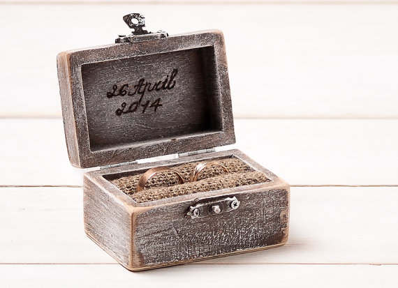 Wedding Ring Box Holder Pillow Bearer Personalized Custom Wooden Engagement Burlap And Lace Rustic D1