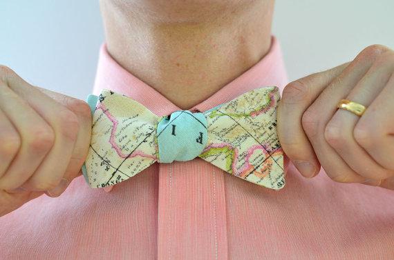 Men S Bow Tie In World Map Light Free Style Self Bowtie Groomsmen Custom Wedding Ties Travel Maps Blue