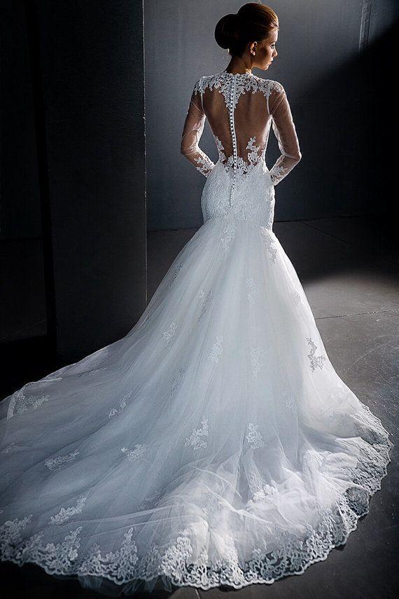 Stunning Lace Wedding Dress Long Sleeves Sheer Back Mermaid Style Dresslace Y