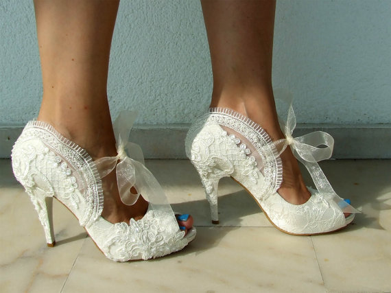 Embroidered Lace Bridal Shoes With Pearls In Ivory 4 Heels P Toes Elegant Wedding