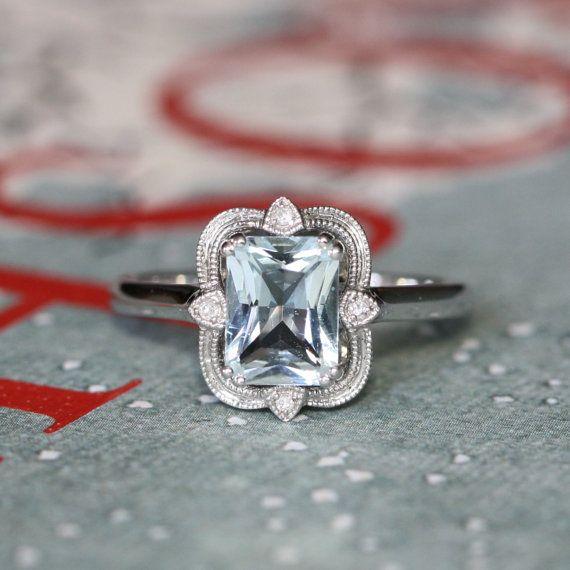 Beautiful Vintage Inspired Diamond Aquamarine Engagement Ring In 14k White  DA09