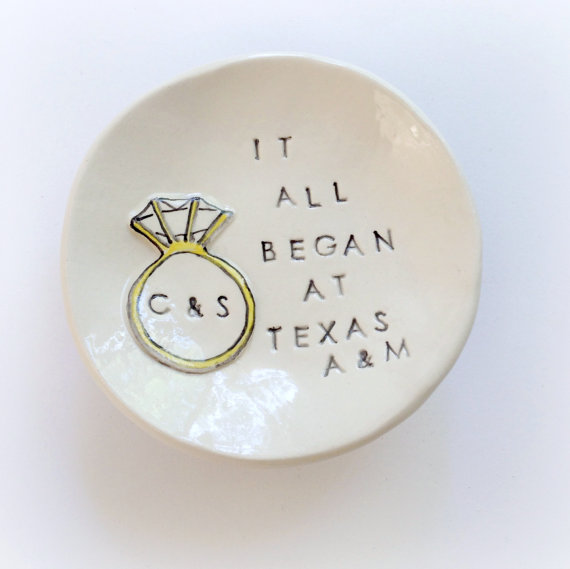 Personalized It All Began S Engagement Gift Ring Holder Unique Dish Handmade By Cathie Carlson