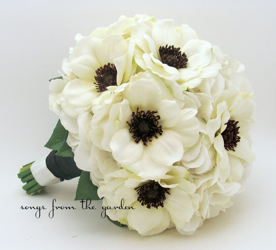 White Anemone Black Center Wedding Bouquet Silk Hydrangea Groom Boutonniere Flower And