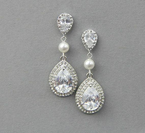 Wedding Earrings Crystal Pearl Ivory White Dangle Bridal Rhinestone Jewelry Vintage Accessories