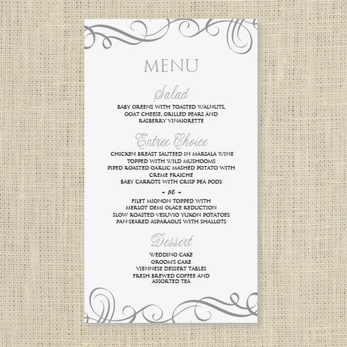 Wedding Menu Card Template Instantly Edit Yourself Elegant Swirls Pewter 4 X 7 Microsoft Word Format