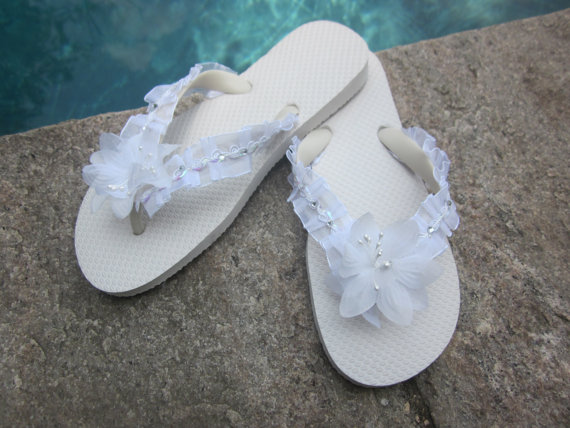 Wedding Flip Flops Wedges For Bride White Beach Destination Shoes Bling