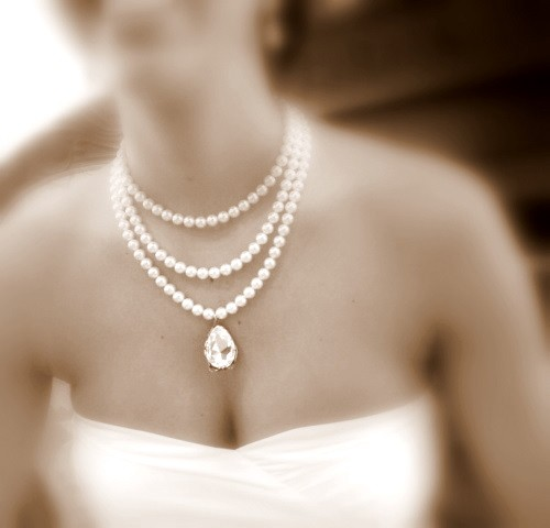 Bridal Statement Necklace Pearl Wedding Jewelry With Swarovski Crystal And Pearls