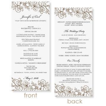 Instant Wedding Program Template Vintage Bouquet Mocha Tea Length Microsoft Word Format