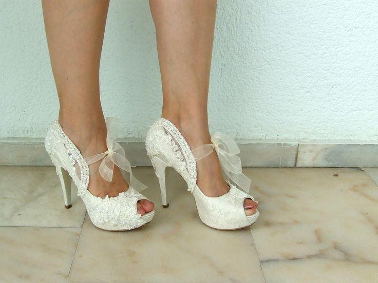 Embroidered Lace Bridal Shoes With Pearls In Ivory 5 Heels P Toes Elegant Wedding