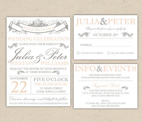 Vintage Modern Wedding Invitation And Rsvp Template Diy 1053 Sample