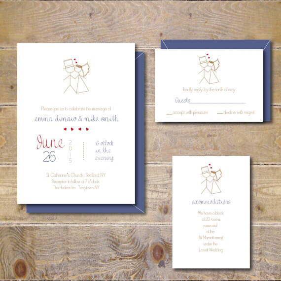 Stick Figure Wedding Invitations Whimsical Figures Casual Modern
