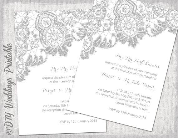 Lace Wedding Invitation Template Silver Gray On White Antique Invitations Digital Printable Invite You Edit Word Jpg