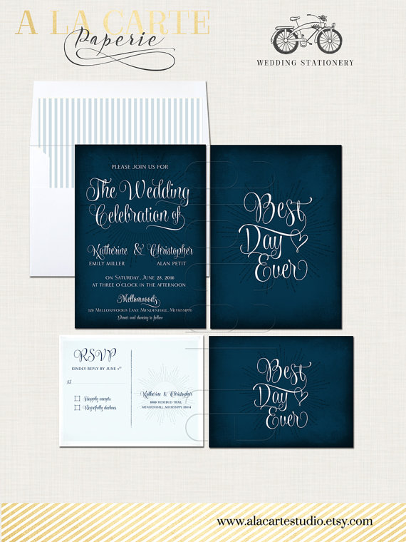 Best Day Ever Navy Chalkboard Wedding Invitation Card And Rsvp Design Fee