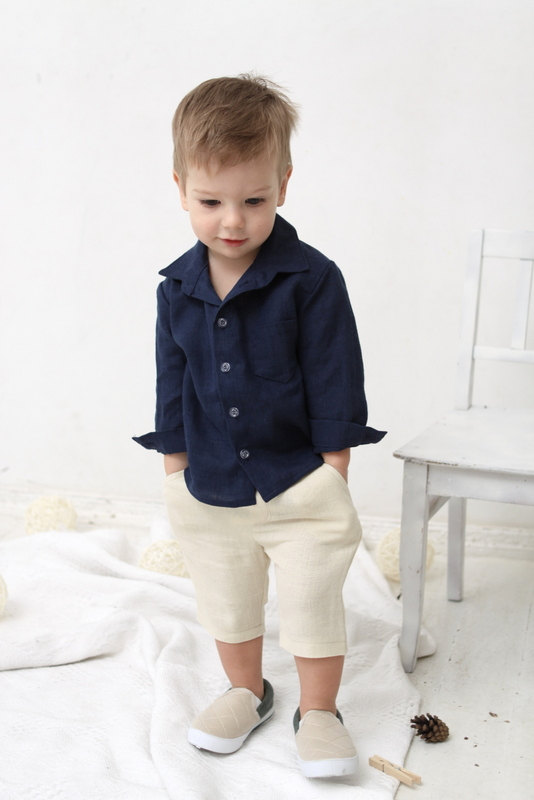 Baby Boy Dress Shirt Wedding Party 1st Birthday Baptism Long Sleeve Navy Blue Linen Boys Clothes Ring Bearer