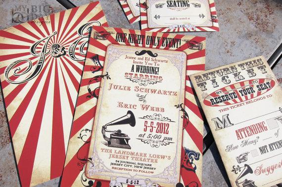 Vintage Carnival Themed Wedding Invitation Circus Steampunk Invitations