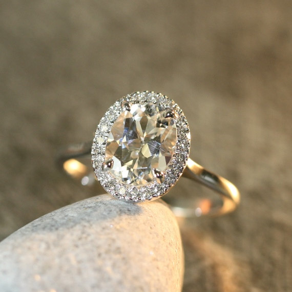 White Topaz And Diamond Halo Engagement Ring In 14k Gold 9x7mm Oval Gemstone Bridal Wedding Set Available