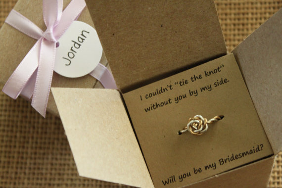 Tie The Knot Ring Will You Be My Bridesmaid Gift Maid Of Honor Wedding Favor Bridal Shower Silver Gold