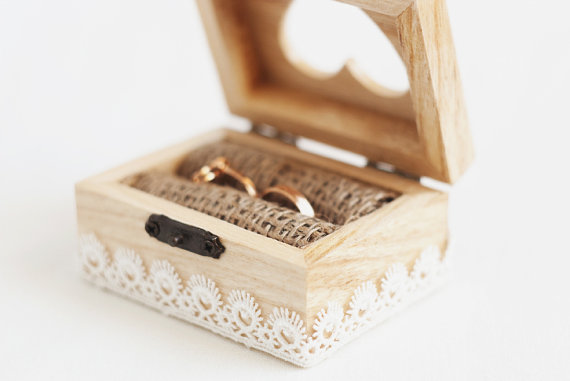 Wooden Wedding Box With A White Lace Trim Ring Bearer Rustic Ecofriendly Heart Vintage Style