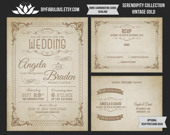 New Serendipty Collection Vintage Gold Wedding Invitation Printable Rustic Suite Shabby Chic
