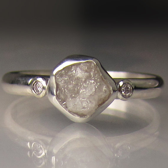 Raw White Diamond Engagement Ring Recycled Palladium Sterling Silver Rough Uncut Conflict Free