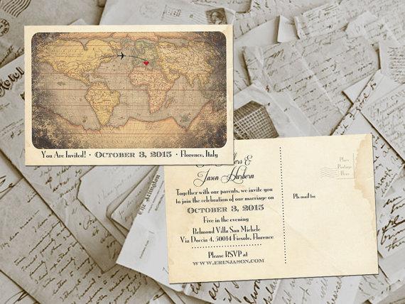 50 Wedding Invitation Postcards Destination Vintage Rustic Photo