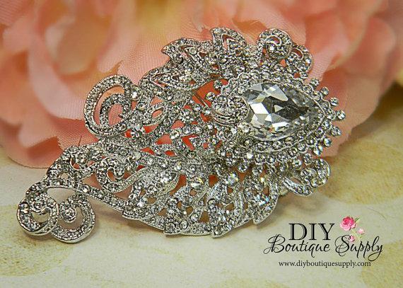Large Rhinestone Brooch Wedding Jewelry Elegant Pin Accessories Crystal Bouquet Sash 78mm 332198