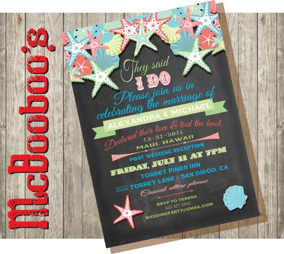 Tropical Seashell Post Wedding Or Destination Reception Invitations On A Chalkboard Background