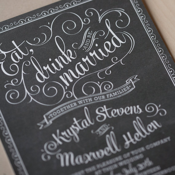 Chalkboard Wedding Invitations Vintage Chic Rustic Hand Drawn Cafe Poster Invitation Jack Daniels Sample