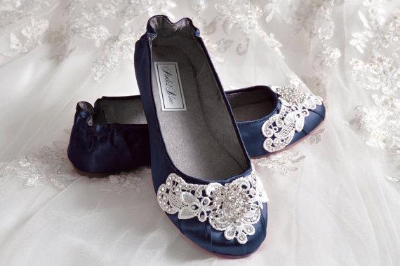 Navy Blue Wedding Shoes Ballet Flats 250 Colors Vintage Lace Swarovski Crystals Belle Women S Bridal