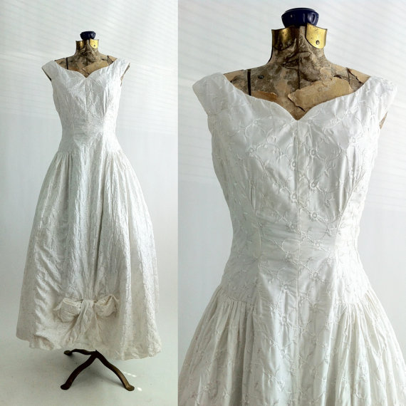 Vintage Dress 1950 White Cotton Gown Suzy Perette New York Formal Wedding Bridal 1950s Retro Sleeveless Summer