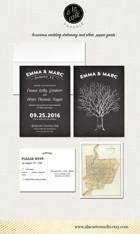 Tree With Initials Chalkboard Wedding Invitation Card And Rsvp Design Fee Oak Vintage Map