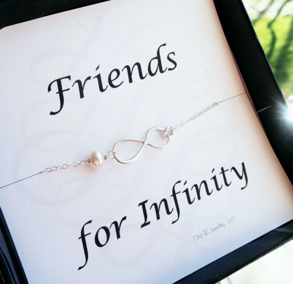 Silver Infinity Bracelet Friendship Best Friend Gift Pearl Bridesmaid Gifts Message Card Thank You