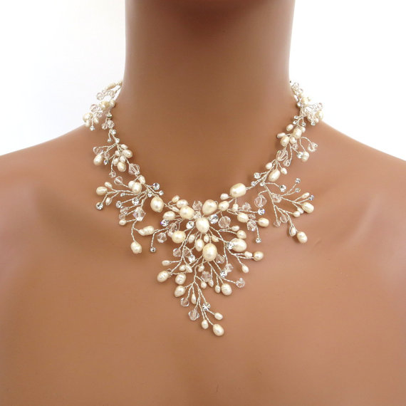 Bridal Freshwater Pearl Necklace Set Wedding Jewelry Swarovski Crystal And Earrings