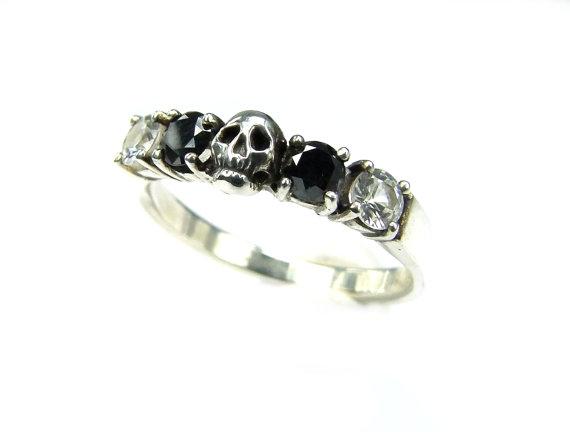 Skull Wedding Ring Black Diamond Sterling Engagement Goth Psychobilly Band Set Jewel All Sizes