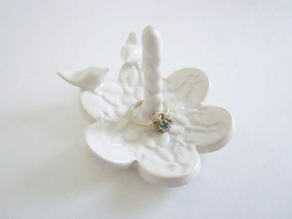 Love Bird Wedding Ring Stand Holder Dish Bearer Antique White Brides Gift Made To Order