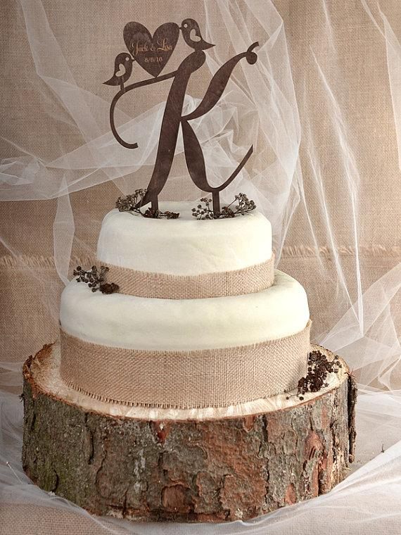 country wedding cake topper rustic cake topper wood cake topper monogram cake tpper 13003