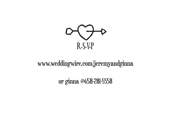 Heart With Arrow Rsvp Rubber Stamp For Custom Diy Wedding Invitations Stationary