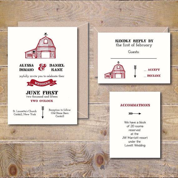 Printable Wedding Invitation Diy Digital File Barn Pdf Rustic Invitations