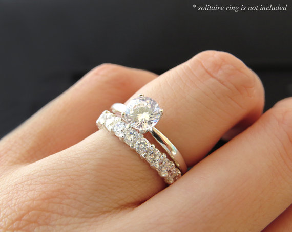 12 Stone Wedding Band Only 3 4 Ct Man Made Diamond Simulants Anniversary Engagement Birthstone Promise Ring Sterling Silver Or 14k Gold