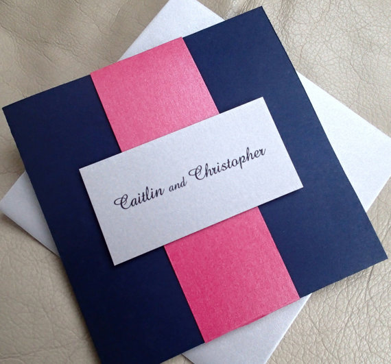 Pocket Fold Wedding Invitation Navy Blue Silver Pink Modern